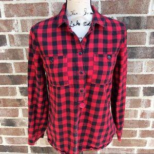 Madewell Black Red Buffalo Plaid Popover Shirt S